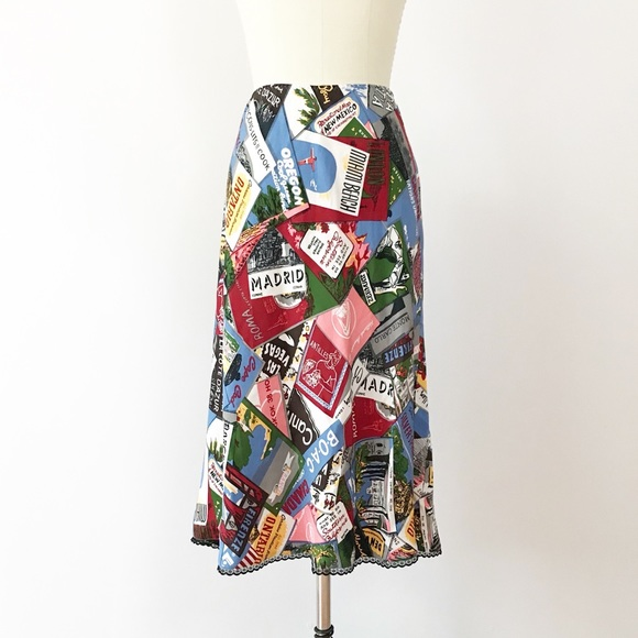 7d43a8ac09 GAP Dresses & Skirts - Gap Silk Postcard Print Midi Skirt A Line Travel 8